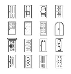 linear door icons thin outline line doors of vector image