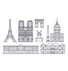 Outline paris landscape france landmarks vector
