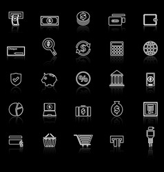 Payment line icons with reflect on black vector