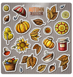 Set of autumn season cartoon stickers vector