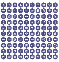 100 industry icons hexagon purple vector