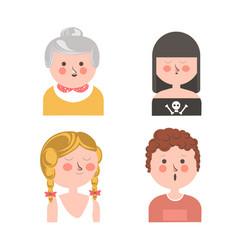 women and curly guy funny cartoon avatars set vector image