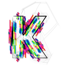 Colorful font letter k vector