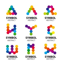 Set of logos from abstract modules vector