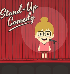 Female stand up comedian cartoon character vector