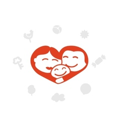 Family logo heart idyll child vector
