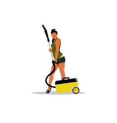 Cleaning service sign girl with a vacuum cleaner vector