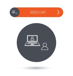 Video chat icon webcam chatting sign vector