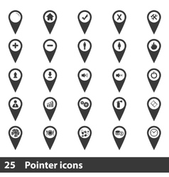 25 map pointer icons set vector