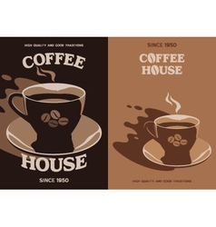 Coffee house poster design with cup and saucer vector