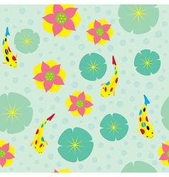Water lily fish pattern vector
