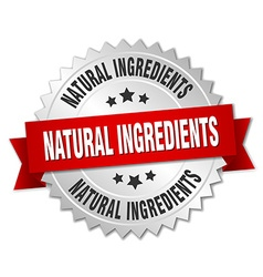 Natural ingredients 3d silver badge with red vector