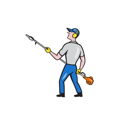 Gardener hedge trimmer isolated cartoon vector