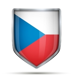 Shield with flag czech republic vector