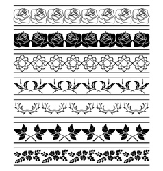 set of floral elements of borders vector image