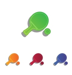 Ping pong paddle with ball colorfull applique vector