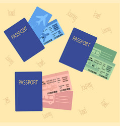Airplane bus train tickets with passport vector