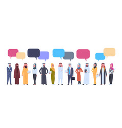 Arabic men and women group with chat bubbles over vector