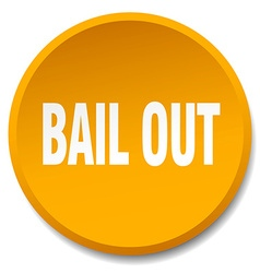 Bail out orange round flat isolated push button vector
