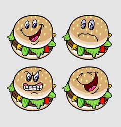 burger cartoon character expression vector image vector image