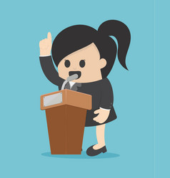 business woman speechifying and present vector image vector image