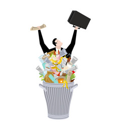 Businessman in trash can business of garbage tie vector