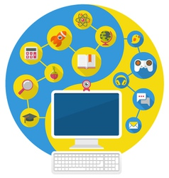 Computer for education and leisure vector