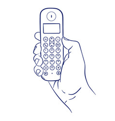 Cordless phone in hand vector