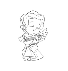 Cute baby angel making music playing lute vector