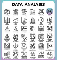Data analysis concept detailed line icons vector