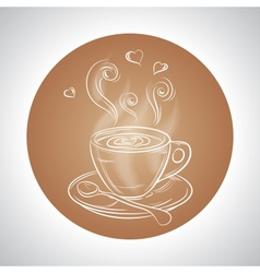 Design with cup of coffee and place for text vector image