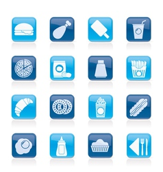 fast food and drink icons vector image vector image