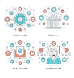 Flat line stock market data protection digital vector