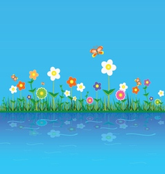 flower on a blue vector image
