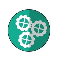 Gear wheel engine cog icon green shadow vector