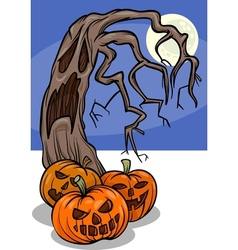 halloween pumpkins with tree cartoon vector image