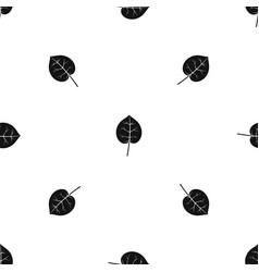 Linden leaf pattern seamless black vector