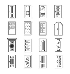 linear door icons thin outline line doors of vector image vector image