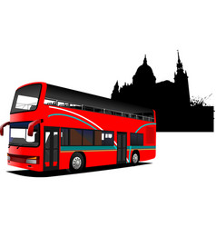 London double decker sightseeing red bus vector