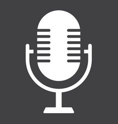 Microphone solid icon studio and sound vector
