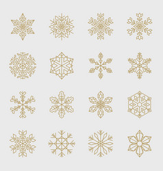 minimal golden snowflakes set vector image vector image