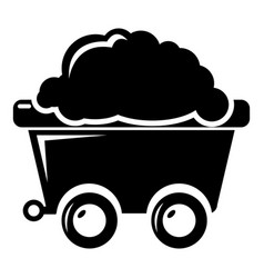 Mining cart icon simple style vector
