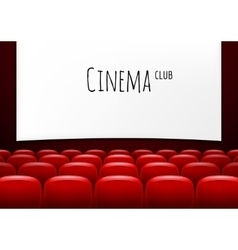 Movie theater with row of red seats premiere vector