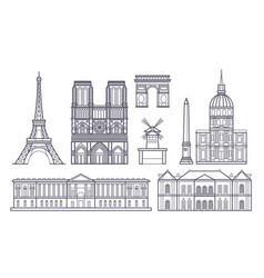 outline paris landscape france landmarks vector image