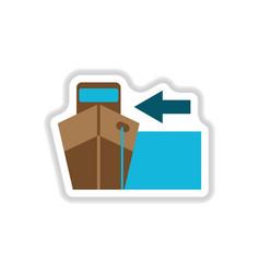 Paper sticker on white background cargo ship vector