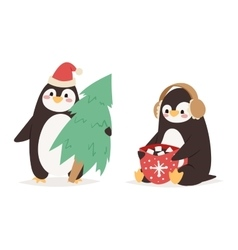 Penguin set characters vector image