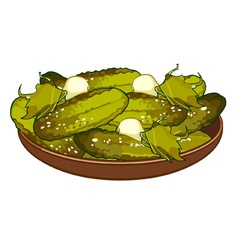Pickled cucumbers on a platter vector
