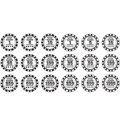 Poker chips set black and white isolated on white vector