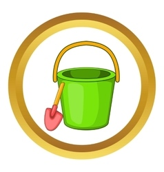 Sand bucket and shovel icon vector image