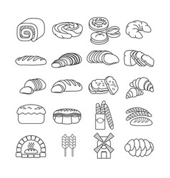 set of cute bakery icon isolated on whi vector image